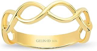 جيلين خاتم زفاف مضفر من الذهب الصلب عيار 14 قيراط | خواتم لطيفة للنساء | مجوهرات قابلة للتكديس