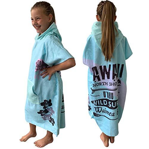 Homelevel Teenager kinderen surfponcho poncho badponcho strandlaken handdoek cape katoenmix velours badstof handdoek met capuchon