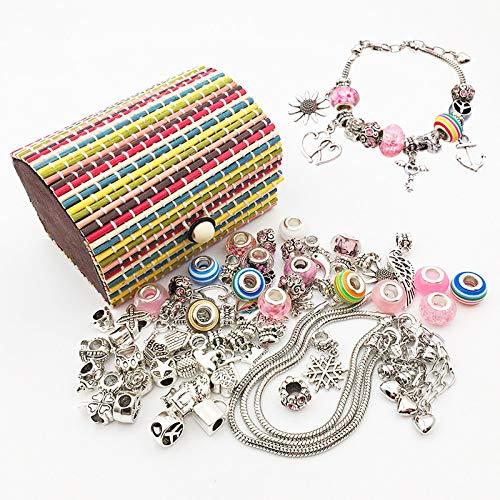 WHATWEARS Kit de creación de joyas para niñas, kit para pulseras de Fai-da-Te de 65 piezas con 55 perlas diferentes y colgantes, juego de manualidades para la fabricación de pulseras con colgantes