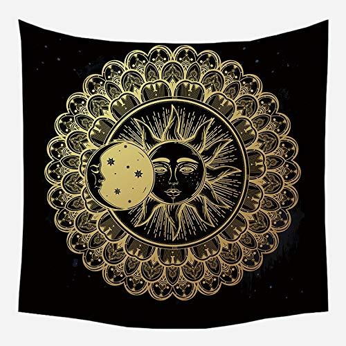 KHKJ Dorado Negro Sol Luna Mandala Tapiz Colgante de Pared Celestial Tapiz de Pared Hippie Alfombras de Pared Dormitorio Decoración Tapiz A9 230 * 180cm