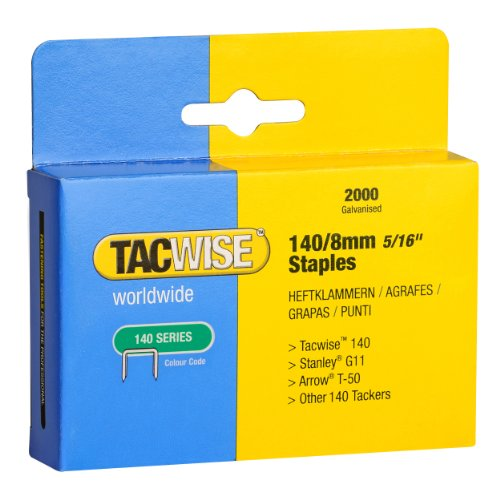 Tacwise 0346 Grapas serie de 140 x 8 mm (caja de 2000 unidades), 8 mm, Set Piezas