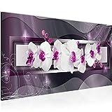 Tableau Decoracion Murale Fleurs Orchidée 1 Partie Moderne Toile non tissée Salon Salle Abstrait Violet 206412b