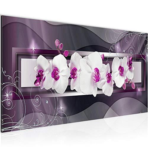 Wandbilder Blumen Orchidee 1 Teilig Modern Vlies Leinwand Wohnzimmer Flur Abstrakt Violett Lila 206412b