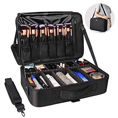 Relavel Makeup Bag Travel Makeup Train Case Large Cosmetic Case Professional Portable Makeup Brush Holder Organizer and Storage with Adjustable Dividers (black L)