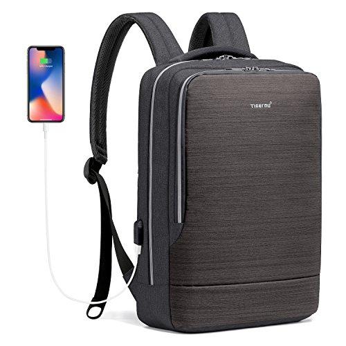 Norsens 15.6 Zoll Slim Business Rucksack mit Laptopfach, USB Wasserdicht Schwarz