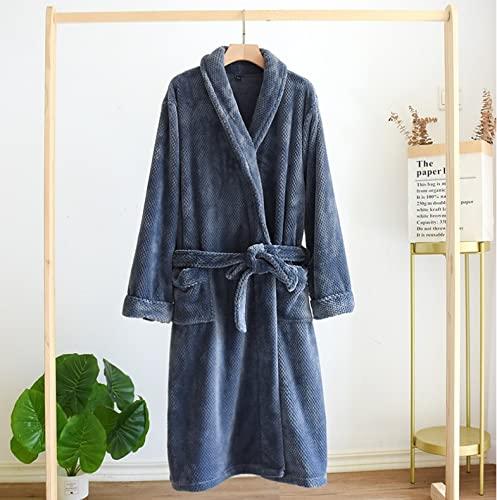 chenghuax Damas Gruesas Albornoces Hombre otoño e Invierno Franela Pareja Pijamas Pijamas Parejas alargar Calor (Color : Blue, Size : Women)