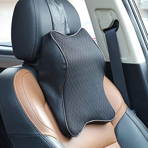 Lindsayii Car Seat Headrest Neck Rest Pillow with Removable Cover, Cloud-Like Comfort Memory Foam Cervical Cushion with U-Shaped Design, Necessity for Car Driving (Black, A (36 cm X 30 cm))