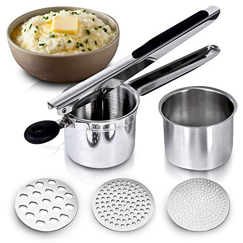 Potato Ricer Stainless Steel Press Hand Held Heavy Duty Masher For Beautiful White Mash Potatoes  Good for Cauliflower Vegetable and Baby Food Smasher with Non Slip grips a Metal Kitchen tool