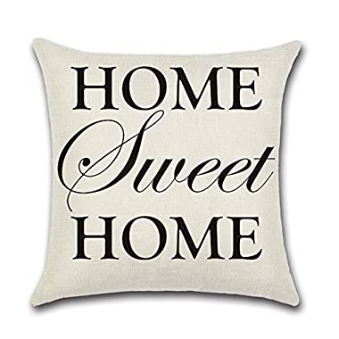 YANGYULU Quote Words Cotton Linen Home Decorative Throw Pillow Case Sofa Cushion Cover 18  x 18  (HOME Sweet HOME)