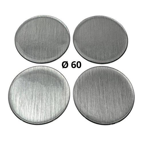 4 x silicone autocollants/Emblèmes pour capuchons Moyeu | Motif : brossé Metal Brossé metall| Diamètre : 60 Mm