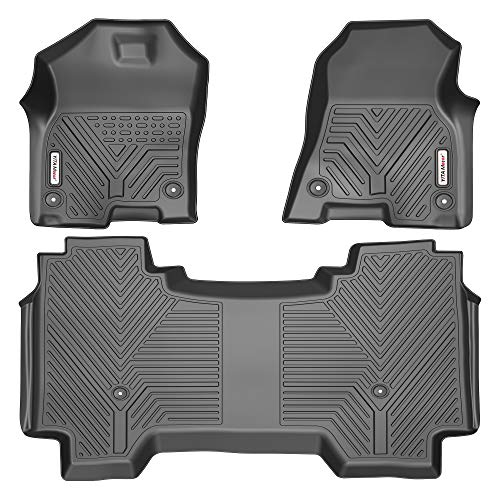 YITAMOTOR Floor Mats Compatible with 2019-2021 Dodge Ram 1500 Crew Cab, with 1st Row Bucket Seats, No Rear Under Seat Storage Box, Custom Fit Black Floor Liners 1st & 2nd Row All-Weather Protection