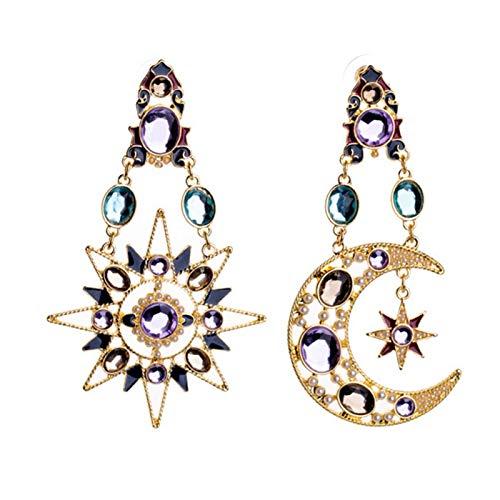 Ruby569y Pendientes colgantes para mujeres y niñas, pendientes asimétricos con incrustaciones de diamantes de imitación de sol, luna creciente y estrella, multicolor