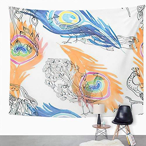 Y·JIANG Tapiz colorido, hermoso pavo real y plumas abstractas para dormitorio del hogar, tapiz grande decorativo, manta ancha para colgar en la pared para sala de estar, dormitorio, 80 x 60 pulgadas