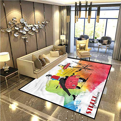 Girls Soft Indoor Large Modern Area Rugs Tower Street Fashion for Kids Baby Room Bedroom Nursery 6 x 8.8 Ft