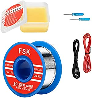 Solder Wire and Rosin Paste Kit - 0.6mm 60/40 Tin Lead Solder Wire and Rosin Paste Flux for Electronics Repairs and Soldering DIY