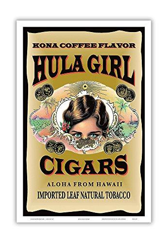 Hula Girl Brand Zigarren – Kona Coffee Flavor – Aloha aus Hawaii – Vintage Zigarrenlabel von Hula Girl Store – Master Art Print 30,5 x 45,7 cm