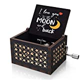 U R My Sunshine Wooden Colorful Black Music Box I Love You to The Moon and Back Vintage Hand Crank Musical Box Gifts for Wife/Husband/Girlfriend/Boyfriend on Valentine's Day/Wedding Anniversary