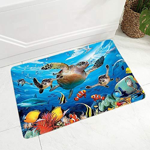 OPLJ Colorido mundo submarino tortuga felpudo, utilizado para pasillo, cocina, decoración de habitación, alfombra antideslizante A4, 40 x 60 cm