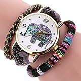 Mesdames en Cuir De Mode Montres De Robe D'Éléphant d'or Montres Weave Band Bracelet De Montre Horloge À...