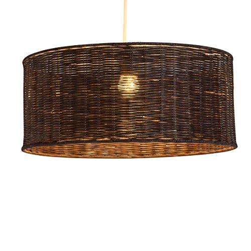 Lámpara Tambor 38, suspensión, ratán, 60 W, marrón, diámetro 38 x altura 16 cm