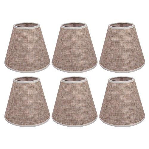 AFY - Pantallas de lámpara, lámpara, tulipa, lino, cierre de clip sobre la vela o la bombilla. Paquete de 6 unidades.
