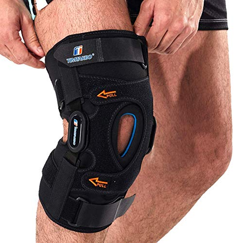 Hinged Knee Brace,Gel Patella Support with Removable Dual Side Stabilizers,Knee Support for Meniscus Tear,Relieves ACL,Arthritis (M)
