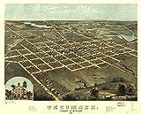Historic Prints 20' x 24' 1868 Map of Tecumseh Lenawee County Michigan