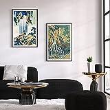 VCFHGVG Arte de Pared de Cascada Cartel de Bloque de Madera de Cascada Lienzo Arte Pintura Cuadros para Sala de Estar 50x70cmx2 sin Marco