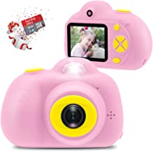 Veroyi Kids Camera with 16GB Micro SD Card - 8MP Rechargeable Digital Front and Rear Selfie Camera with 2 Inches Screen Child Camcorder Toys Gift for 4-10 Years Old Boys and Girls(Pink)