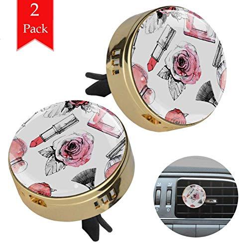 Bennigiry - Brocha de maquillaje con diseño vintage de rosas y flores, difusor de aceites esenciales para coche, oficina, hogar, 2 unidades