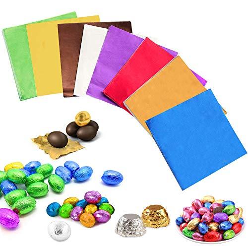 Aluminio Papel De Envolver BESLIME-800 Pcs Chocolate Candy Envoltorios Papel, de Regalos Envoltorios Té Envasado Azúcar Papel de Envolver Decoración de Regalo (8 colores)
