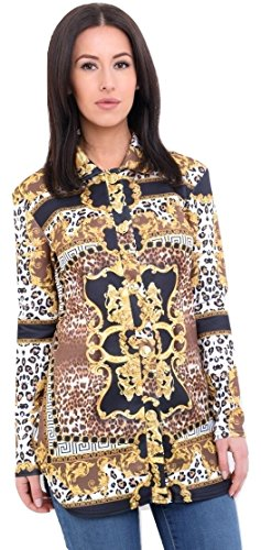 Momo&Ayat Fashions Dames Luipaard Sjaal Print Shirt Blouse UK Maat 8-14