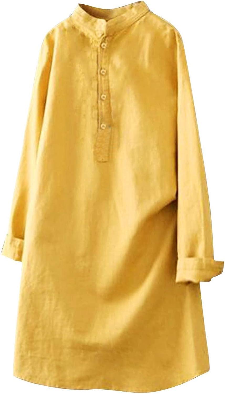 Women's Cotton Linen Tops Linen Loose O-Neck Casual Button Down Loose Beach Tops Blouse Plus Size Tee Shirts