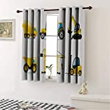 Triple Weave Microfiber Blackout Curtains Boys Room Cartoon Style Heavy Machinery Truck Crane Digger Mixer Tractor Construction Yellow Grey for Bedroom - Energy Efficient 63 by 45 in -  Mozenou
