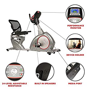 Sunny Health & Fitness Magnetic Recumbent Bike Exercise Bike, Self-Powered Cycling for USB Charging Function with Easy Adjustable Seat and Device Holder - SF-RB4880, Gray