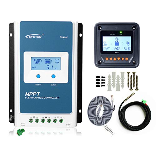 EPEVER MPPT Charge Controller 40A 12v/24v Auto + MT50 Remote Meter Tracer4210AN...