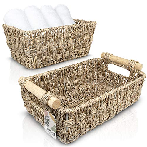 Homescape Creations Set of 2 Woven Seagrass Basket with Wooden Handles - Small Wicker Storage Baskets - Handmade Bathroom Decor Organizer