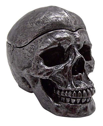 Wowser Cenicero gótico de resina metálica tono plateado con parte superior extraíble, 10,16 cm