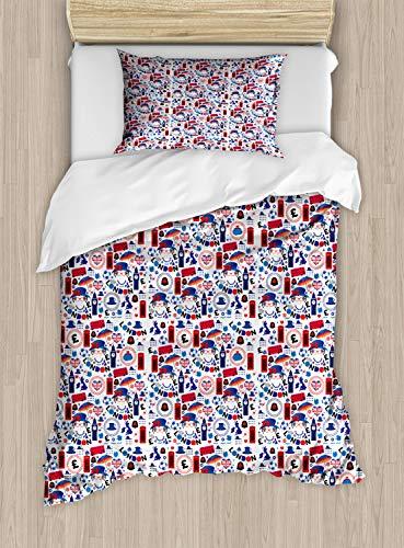 ABAKUHAUS Londen Dekbedovertrekset, Travel Theme, Decoratieve 2-delige Bedset met 1 siersloop, 130 cm x 200 cm, Veelkleurig