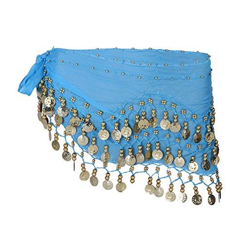 LUOEM Cinturn de danza del vientre para mujer, de gasa, con monedas, para danza del vientre, Azul cielo., 146 x 25 cm