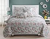 Romantic Floral Narcissus 3-Piece Soft Pink Blue Green Botanical Flower Garden Cotton Reversible Scalloped Queen Quilt Bedding Set by Cozy Line Home Fashions