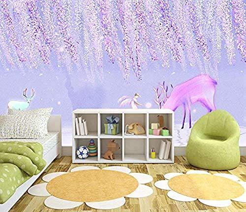 Forest Purple Elk Wandbilder Tapete wandpapier fototapete 3d effekt tapeten Wohnzimmer Schlafzimmer kinderzimmer-200cm×140cm