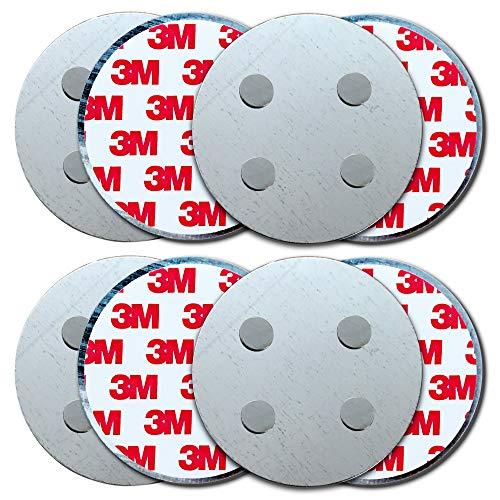 HaftPlus - [4 Stück] Rauchmelder-Magnethalter Ø 70mm, mit 4 extra starken Neodym-Magneten, selbstklebendes 3M Tape für alle Rauch und CO Melder, ohne Bohren für alle Wände und Decken