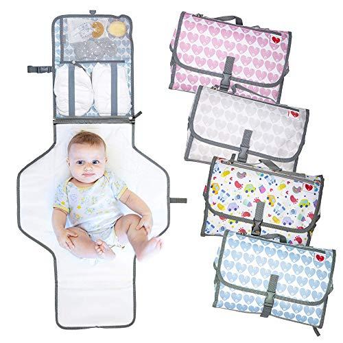 Cambiador Portátil de Pañales Para Bebé, 20% MAS LARGO, Kit Cambiador de Viaje Plegable, Cambiador Bebé, Esterilla Lavable