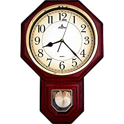 Justime Traditional Schoolhouse Arabic Pendulum Wall Clock Chimes Hourly with Westminster Melody Made in Taiwan, 4AA Batteries Included (PP0258-ARM Red Mahogany)