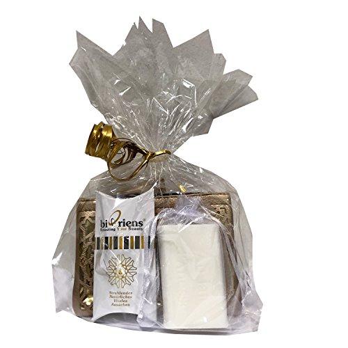 Omega Beauty Secret Kleopatra - Set de regalo con aceite de omega orgánico (3 ml), jabón natural de leche de burro (100 g) y hermoso bolso cosmético - regalos de biOriens Cosmetics
