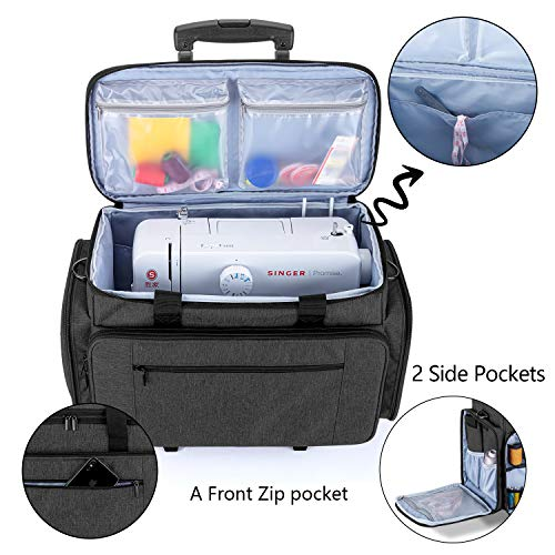 Luxja Sewing Machine Bag with Detachable Dolly, Rolling Sewing Machine Tote with Removable Bottom Pad (Fits for Most Standard Sewing Machines), Patented Design, Black