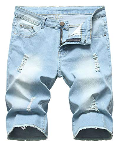 LATUD Men's Ripped Distressed Frayed Raw Hem Denim Jeans Shorts, 1201-Light Blue, US 38 /Tag 38