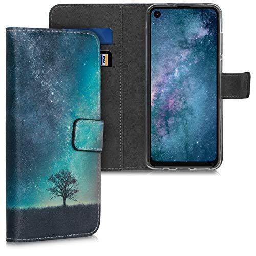 kwmobile Wallet Hülle kompatibel mit Motorola One Action - Hülle Kunstleder mit Kartenfächern Stand Galaxie Baum Wiese Blau Grau Schwarz