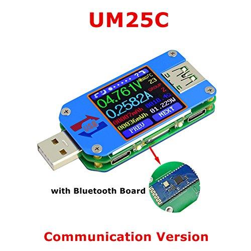UM25C/UM25 Bluetooth Batterieleistungs-Ladegerät-Voltmeter-Amperemeter-Multimeter-Prüfvorrichtung, 1.44 Zoll-Farbe LCD-Anzeige USB 2.0 Art- C Kabel-Widerstand-Last-Impedanz-Meter (UM25C)